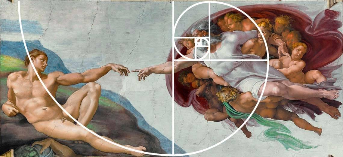 """Fibonacci Spiral on Painting """"The Creation of Adam"""" (Italian: Creazione di Adamo) by Michelangelo"""